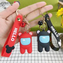FIMAODZ New Anime Game Among Us Keychain Cute Figure Red Yellow Pink Blue Car Bag Key Chain Ring for Kids Gift