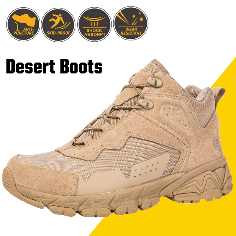 Men's Desert Tactical Military Boots Mens Work Safety Special Force Shoes Army Boot Ankle Lace-up Combat Boots Man Footwear