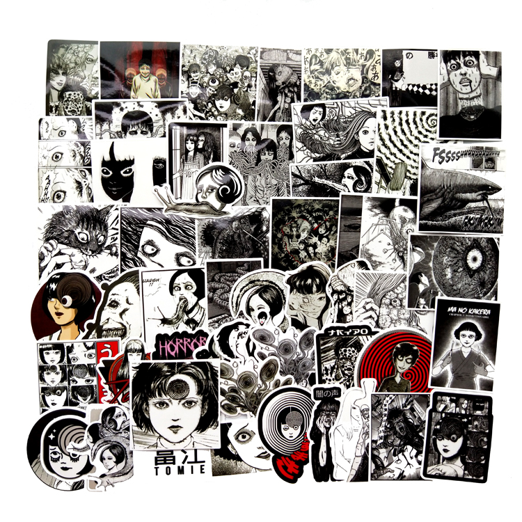 56Pcs PVC Japanese Horror Anime Tomie car waterproof Stickers For Laptop Skateboard Suitcase Scrapbook Funny Graffiti Stickers