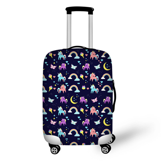 Thikin Pretty Unicorn Travel Luggage Cover For Girls Cartoon School Trunk Suitcase Protective Cover Travel Bag Protector Jacket