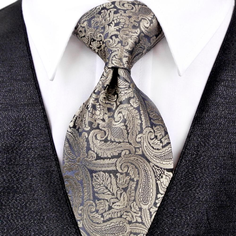 Paisley Multicolor Champagne Khaki Black Gray Blue Mens Ties Neckties Pocket Square 100% Silk Tie Set Free Shipping Wholesale