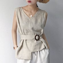 цена Japanese Korean Style Women Tank Top Retro Simple Versatile Belt Slimming V-Neck Sleeveless Top Office Lady Elegant Clothes в интернет-магазинах