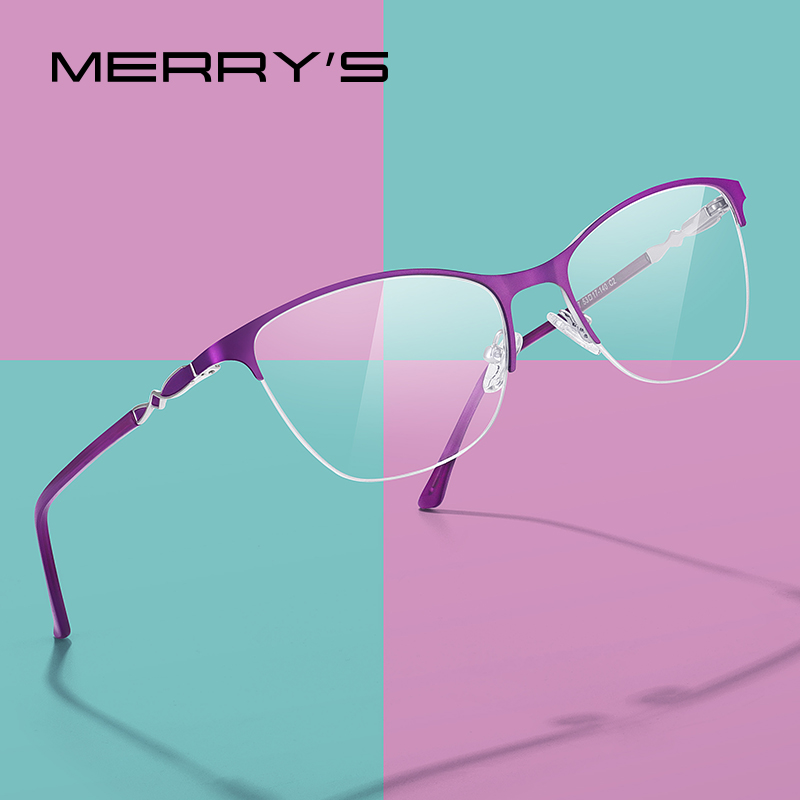 MERRYS DESIGN Women Cat Eye Glasses Half Frame Ladies Fashion Trending Eyewear Myopia Prescription Optical Eyeglasses S2007