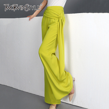 TWOTWINSTYLE Elegant Asymmetrical Women Full Length Pants Hi