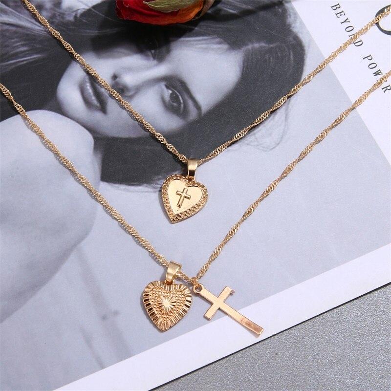 Vintage Gold Cross Heart Pendant Necklace for Women Bohemia Multilayer Geometric Jesus Cross Love Choker Necklace Jewelry Gi