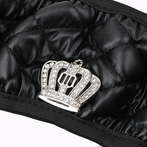 Image 4 - LEEPEE 37 38CM Diameter PU Leather Crystal Crown Steering Covers Car Interior Accessories Steering Wheel Cover Car styling