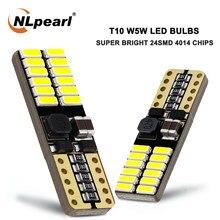 Nlpearl 10x lâmpada de sinal t10 w5w lâmpadas led 24smd 4014 w5w canbus led 914 chip interior do carro luzes da placa licença