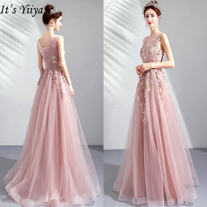 It's YiiYa Prom Gowns 2019 Pink O-neck Sleeveless Floor Length Dresses Elegant Embroidery Long Party Dress Custom Plus Size E283