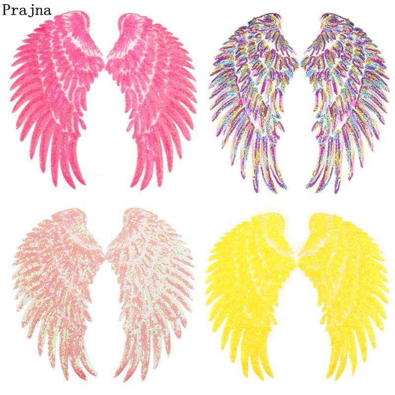 Prajna Bunte Engel Flügel Pailletten Dreamy Eisen Auf Patches Für Kleidung Bestickt Abzeichen Auf Kleidung Appliques DIY Handwerk Dekor