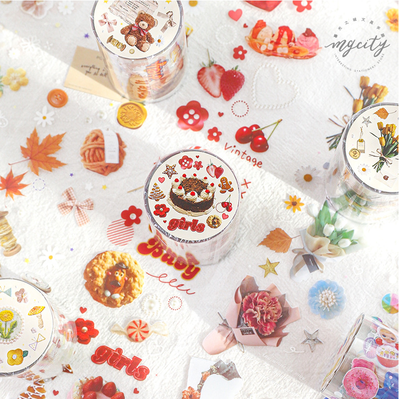 Cute Bear Biscuits Bouquet Transparent Washi Tape Set Japanese PET Stickers Scrapbooking Adhesive Washitape Kawaii Stationary