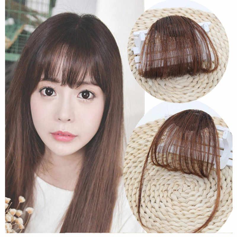1 sztuk wysokiej jakości spinki do włosów Fringe kawałki włosów fałszywe włosy syntetyczne na klipsach z przodu schludny Bang dobre akcesoria do stylizacji włosów
