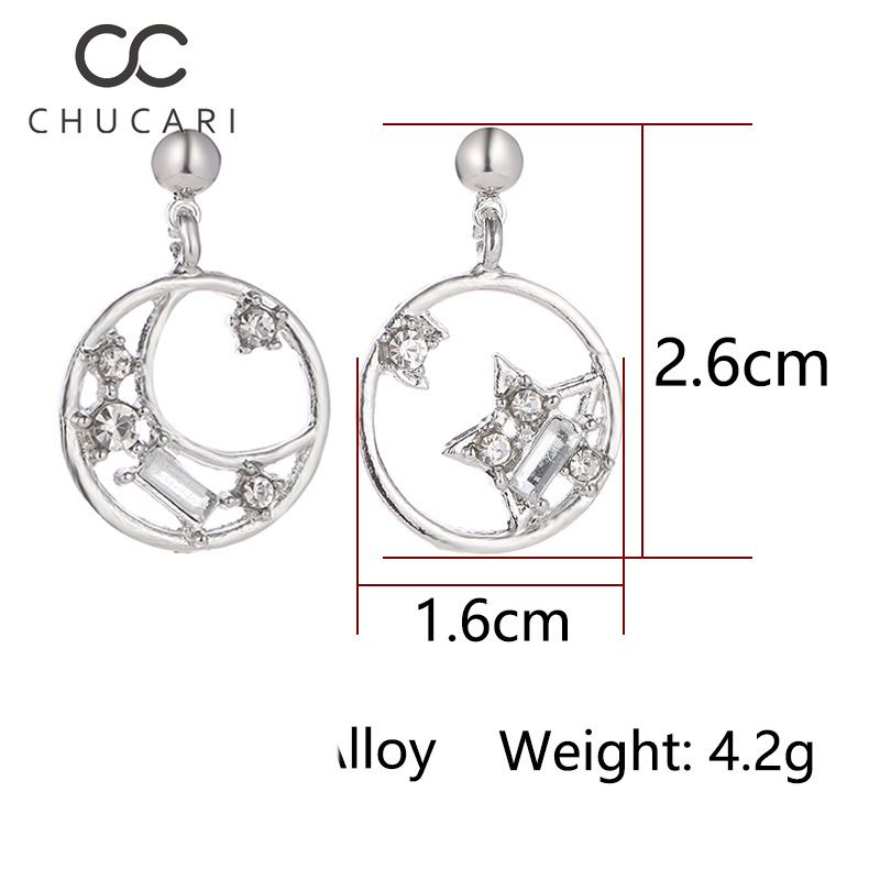 CHUCARI 2019 New Fashion Personality Bohemia Star Moon Metal Alloy Vintage Geometric Hollow Out Statement Women Earrings Jewelry