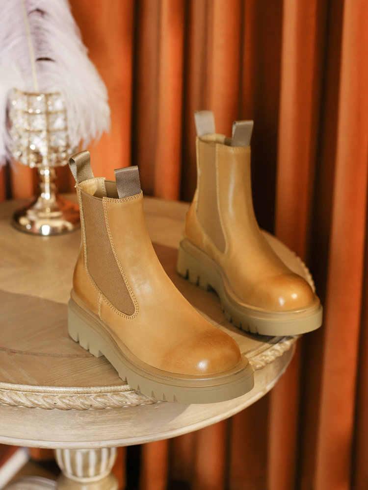 Женские ботильоны на платформе EshtonShero, ботинки челси из коровьей кожи с круглым носком и эластичной резинкой, зимняя женская обувь на среднем квадратном каблуке