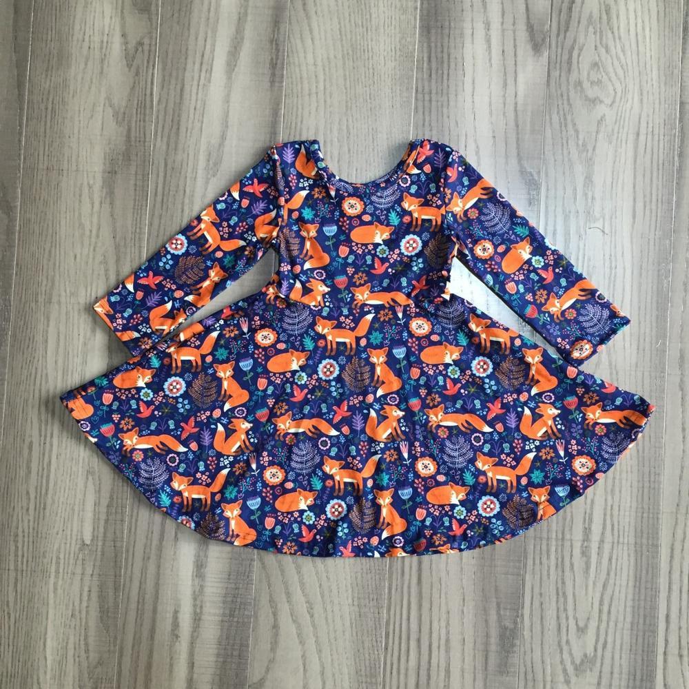 special offer Girlymax fall/winter baby girls cotton chlidren clothes milk silk twirl dress floral fox cow leopard knee length 5