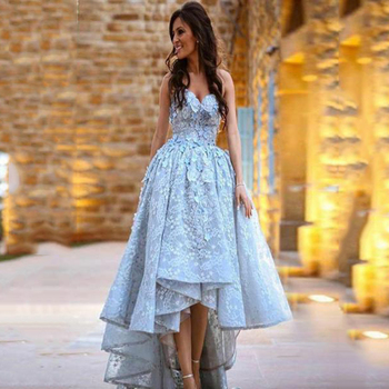 High Low Light Blue Lace Prom Dresses A-Line Sweetheart 3D Appliques Evening Gowns Sleeveless Formal Party Dress charming a line sweetheart sleeveless beading prom dress