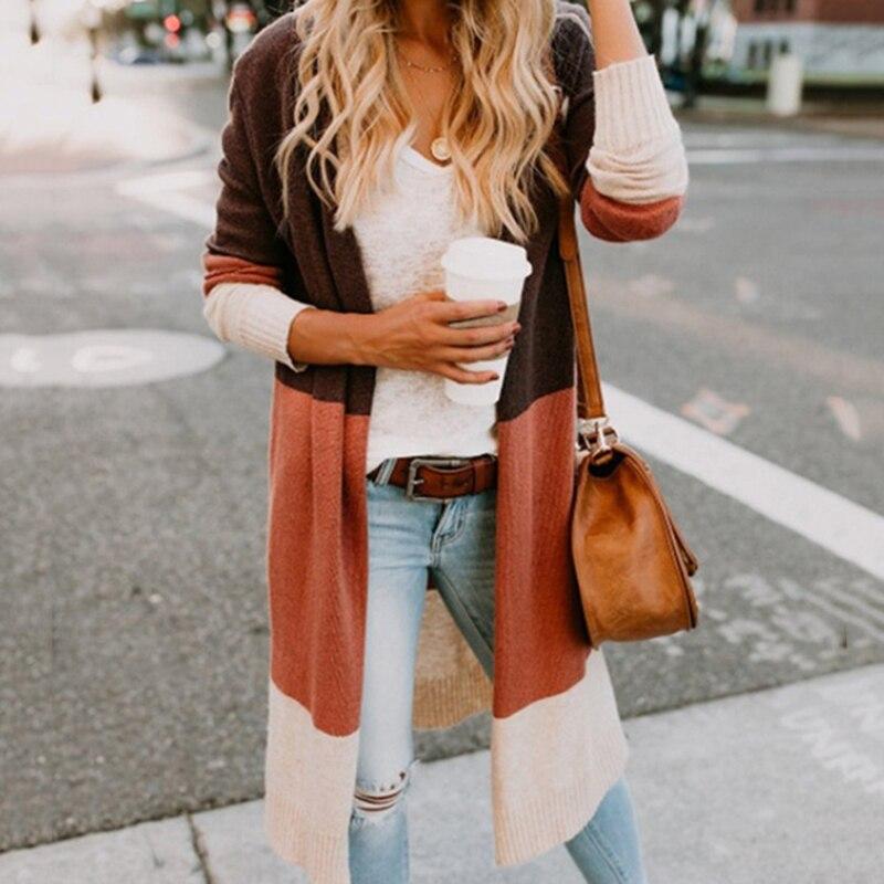 Long Cardigan Women Sweater Knitted Cardigans Women Autumn Thin Knit Cardigan Outerwear Coat Tops Long Streetwear Stripes