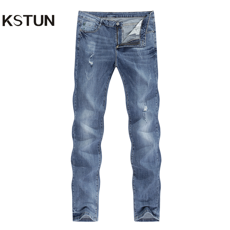 KSTUN Ripped Jeans Men Stretch Light Blue Ultrathin Distressed Man Rip Jean Slim Fit Hip Hop Casual Denim Pants Male Biker Jeans