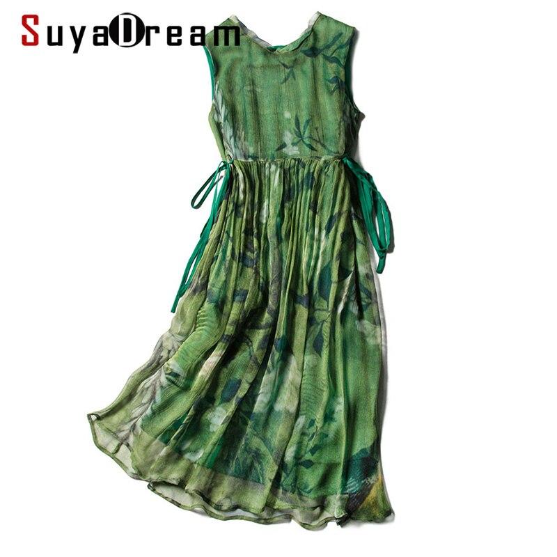 SD Women Silk Dress 100%Silk Printed Sleeveless Knee Length Dresses 2020 Spring Summer