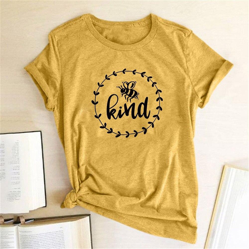 Kind Bee Printing Women T Shirt Short Sleeve Round Neck Summer Tshirt Causal Tops Tee Shirt Femme Hipster 2020 Woman Clothes