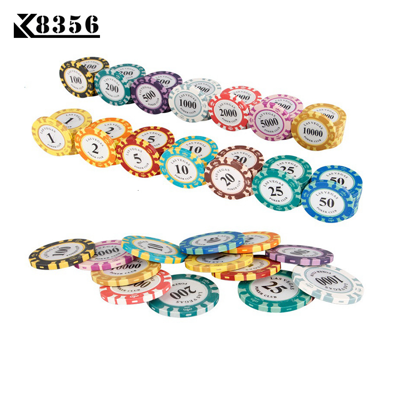 K8356 25PCS/Lot 14g Double Color Crown Film Clay Texas Hold'em Chip Poker Playing Card Chips Mahjong Baccarat Coin Custom Chips