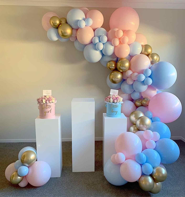 141 pçs branco azul rosa balão guirlanda arco kit estrela lua balões aniversário do casamento festa de chuveiro do bebê decoração balões