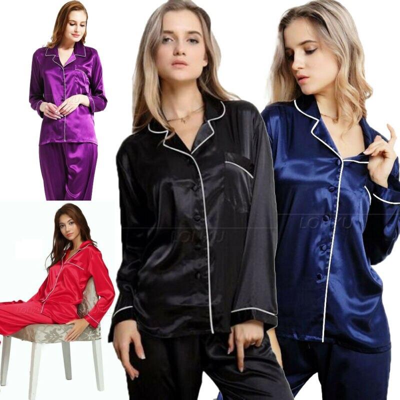 Womens Silk Satin Long Pajamas Set Sleepwear Sets Plus Size For XMAS Gift