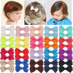 40 штук 2-дюймовый Маленький бант для волос, Бутик Grosgrain банты с лентой аллигатора маленькие зажимы для волос для девочек, младенцев, детей