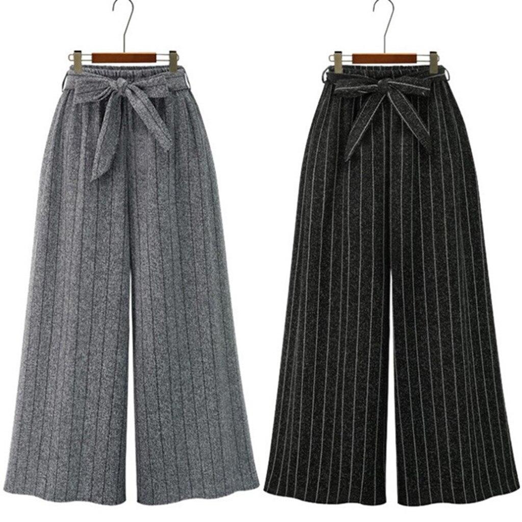 FREE OSTRICH Women's Casual Pants Loose Elastic Waist Stripe Trouser Cropped Wide Leg Pants Winter Fittness Winter Ladies 724