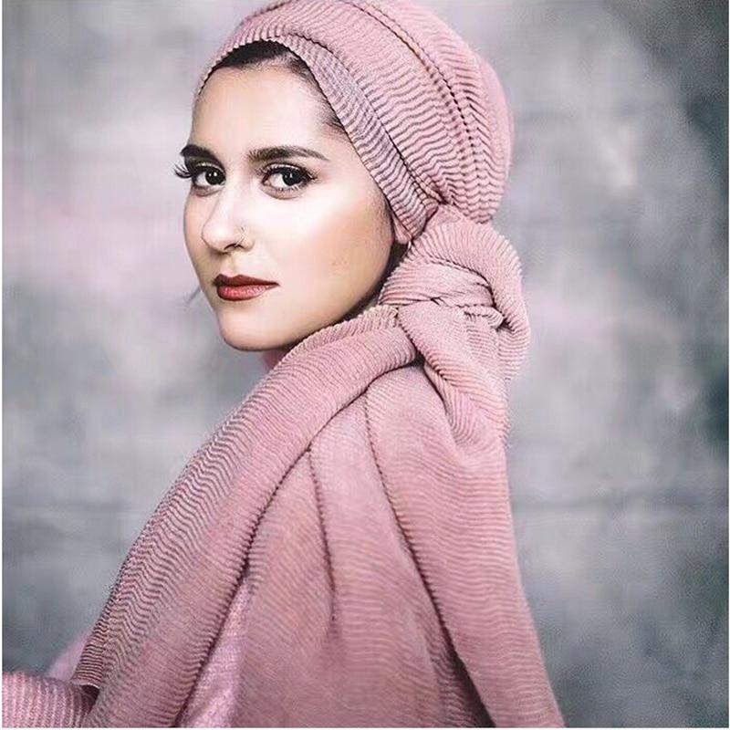 Women Plain Bubble Chiffon Scarf Hijab Wrap Printe Solid Color Shawls Headband Muslim Hijabs Scarves/Scarf