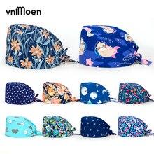 vnimoen Blue series Unisex Nursing Scrub Cap gorros quirurgicos Print Nurse Hat Nurs Cap Adjustable Surgical Cap Wholesale price