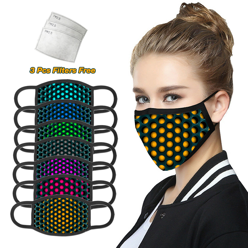 3D Printing Face Mouth Mask With 3 Pcs PM2.5 Filters Free Washable Reusable Dust Cotton Mask For Man And Wowen Face Masks