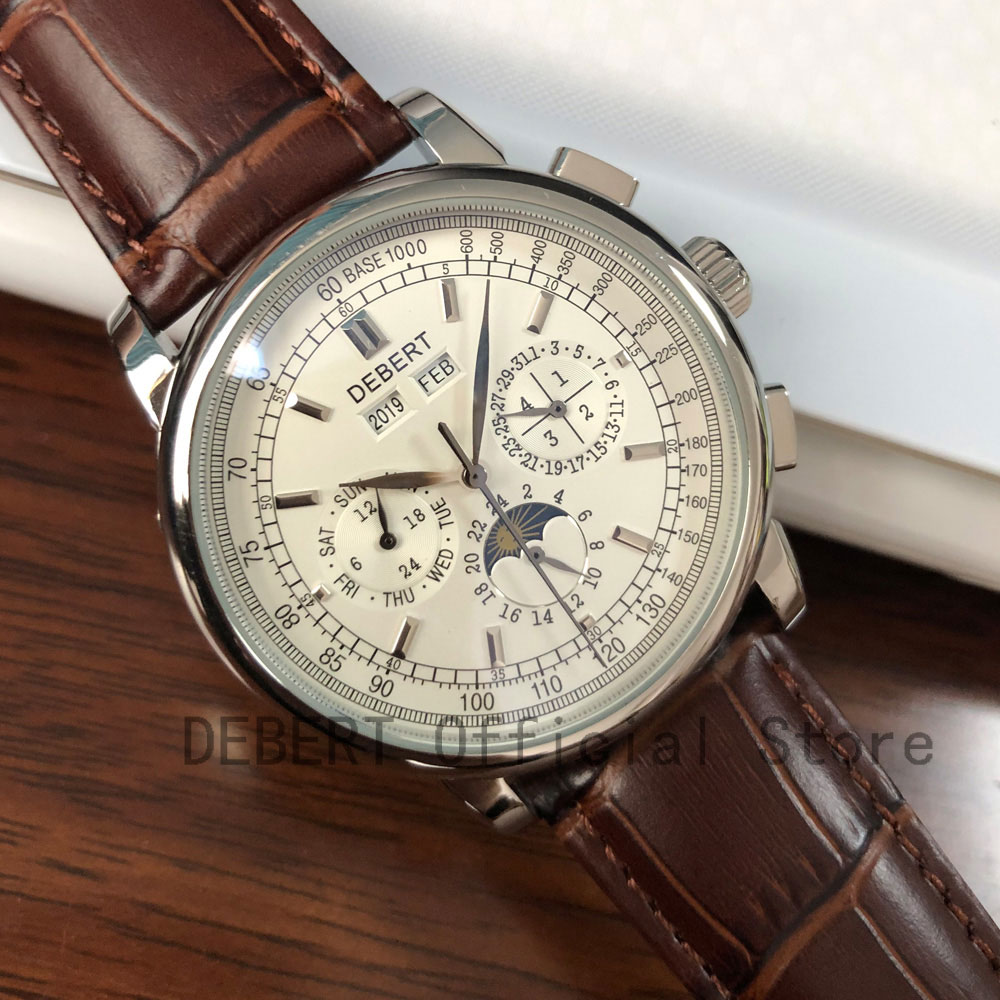 Top Brand 42mm Debert mechanical wristwatches moon Phase White Dial Silver Year Day Month Week 316L SS Case Automatic watch men - 2