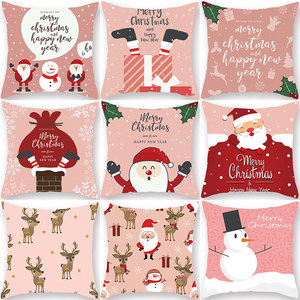 1Pcs Christmas Pink Pattern 45*45cm Polyester Cushion Cover Pillow case Decorative Sofa Home Car Throw Soft Pillowcover 40989