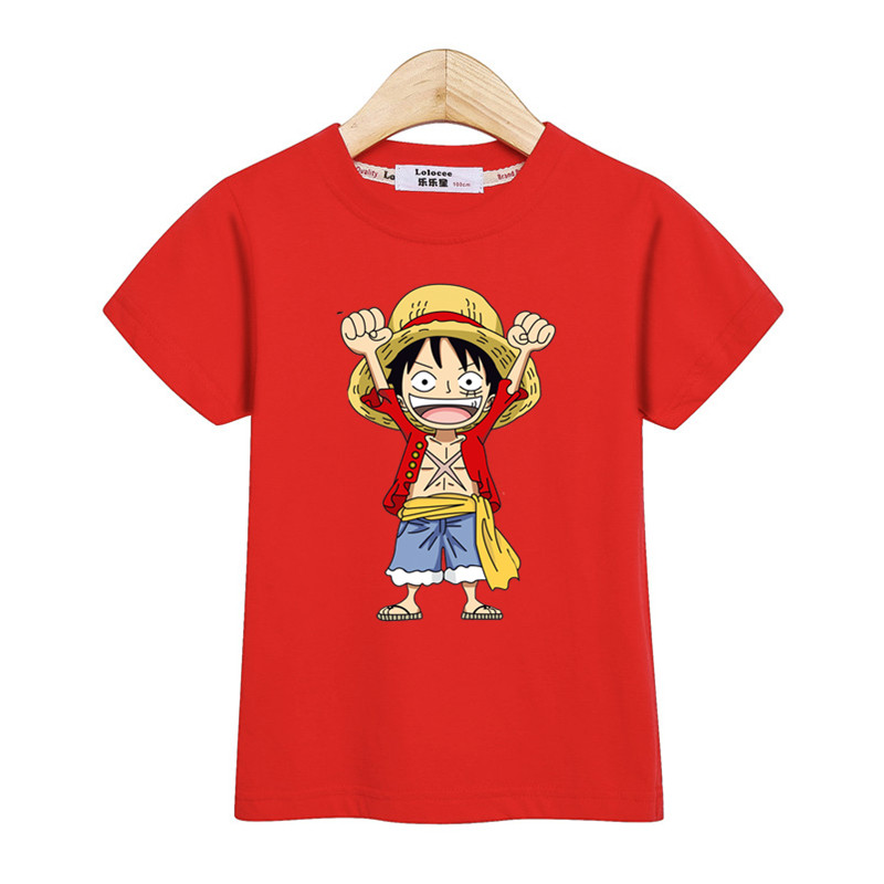 Little Luffy boys shirt new casual tops kids costume short sleeve cotton t-shirt One Piece Anime tees for teen boys 3-14T 4