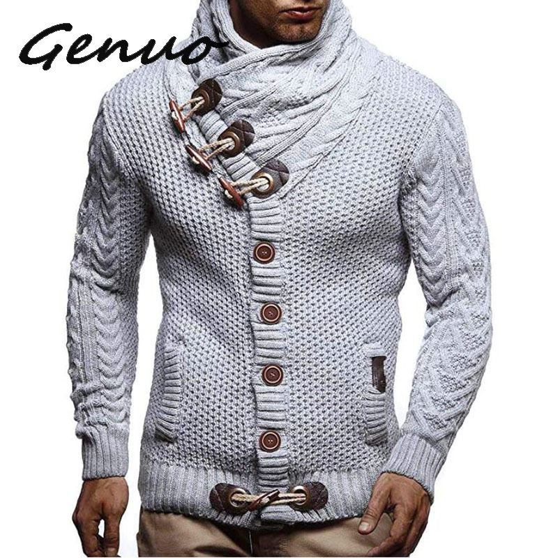 Genuo New Men Pleated Hooded Sweater Coats Brands Male Autumn Solid Zipper Sweaters Jacket Casual Warm Knitting Ovecoat Clothes