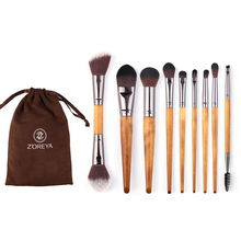 ZOREYA Zorya 9PCS/ Set Imitation Walnut Makeup Brush  makeup brush Fiber Beauty Face Concealer Lip Bru