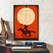 Cuadro sobre lienzo para pared equitación con lanza silueta Vintage póster impresiones Estilo de madera imagen tribal para sala de estar