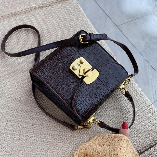 Mini Stone Pattern PU Leather Crossbody Bags For Women 2019 Lock Designer Shoulder Messenger Bag Female Travel Handbags 1