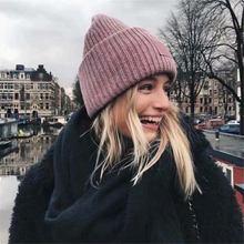 Теплая зимняя шапка для женщин и мужчин шерстяная Смешанная