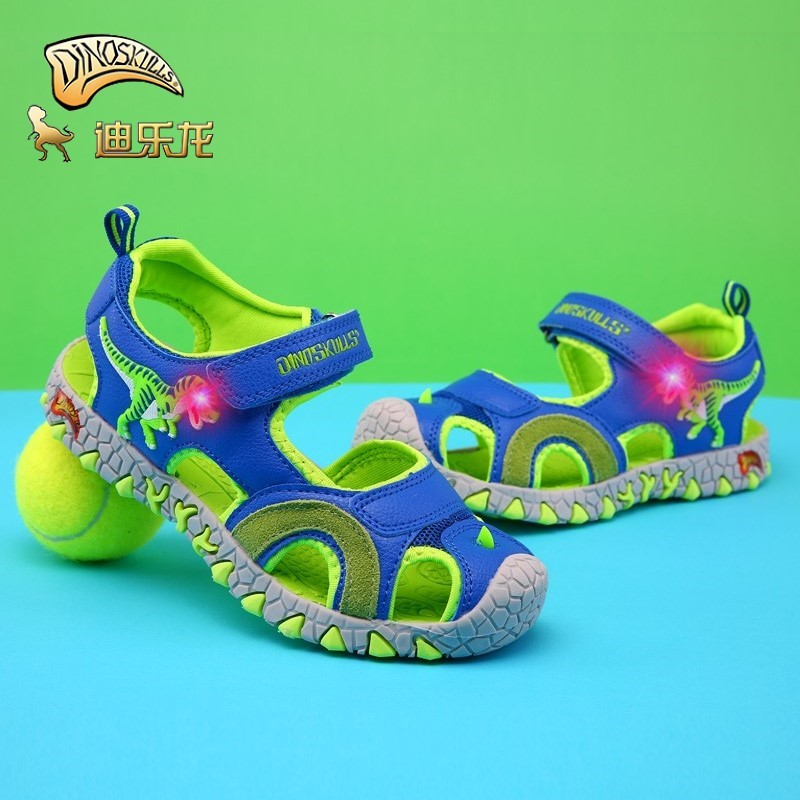 DINOSKULLS Boys Sandals Dinosaur LED Light 5 Kids Shoes 2020 Summer New Beach Sandals T-rex 6 Children's Shoes Boy Size 27-34