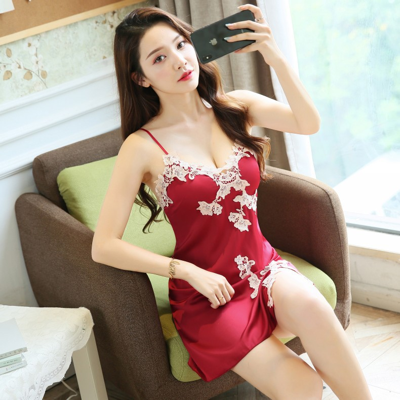 Sleep Lounge   Nightgowns   &   Sleepshirt   with Chest Pad Sleepwear Women Night Dress Sexy Ladie Nightwear Women Lingerie Indoor Dress