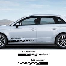 2 uds etiqueta engomada del coche de lado de la raya para Audi A1 A2 A3 8p 8v 8l A4 b5 b6 b7 b8 b9 A5 A6 c5 c6 c7 A7 A8 Q2 Q3 Q5 Q7 Q8 TT accesorios de coche
