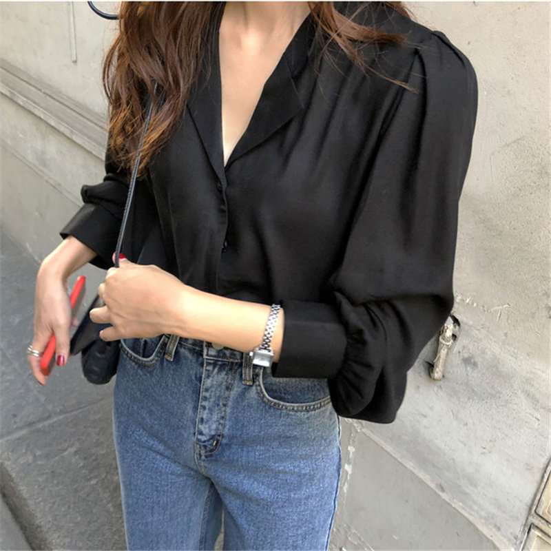 HziriP Black Brief Office Lady Tops Chic Vintage Shirt 2020 New Loose Women Solid Blouses Basic Femme Blusas Camisas Mujer