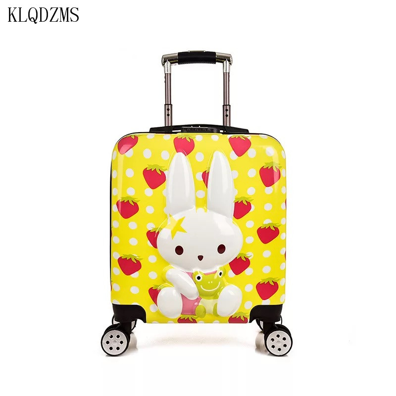 KLQDZMS New 18inch Kids Luggage Cartoon PC Suitcase Boarding Rolling Luggage Travel Bag On Wheels