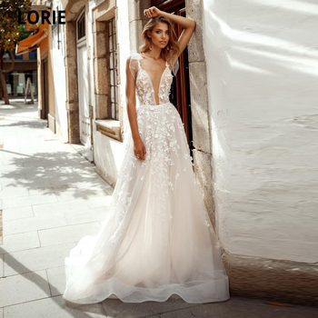 LORIE Elegant Lace Beach Wedding Dresses A-line Princess Bride Gown Spaghetti Straps V-neck Open Back Boho Tulle