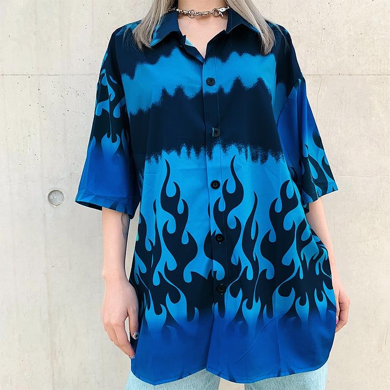 Rapwriter Fashion Flame Print Long Blouse Women 2020 Summer Loose Half Sleeve Turn Down Collar Shirt Ladies Hip Hop Button Tops