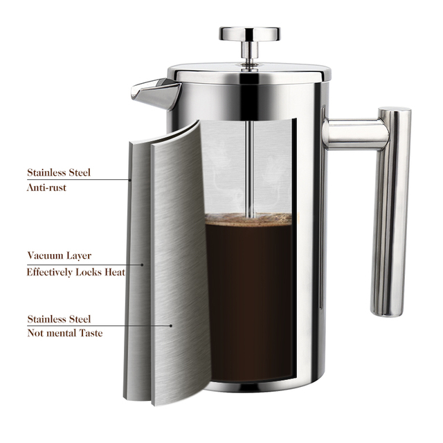 Stainless Steel French Press Coffee Maker 2