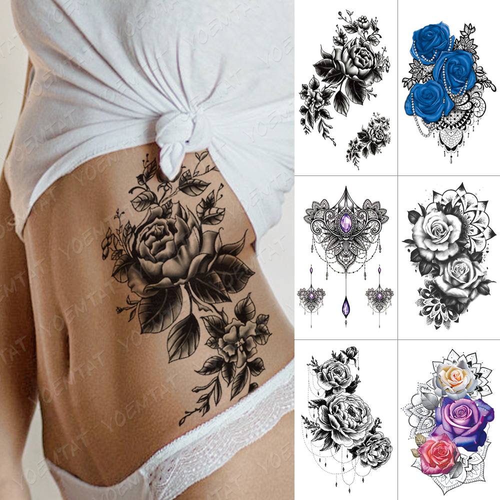 Waterproof Temporary Tattoo Sticker Flower Peony Rose Sketches Flash Tattoos Black Henna Body Art Arm Fake Tatoo Women Men