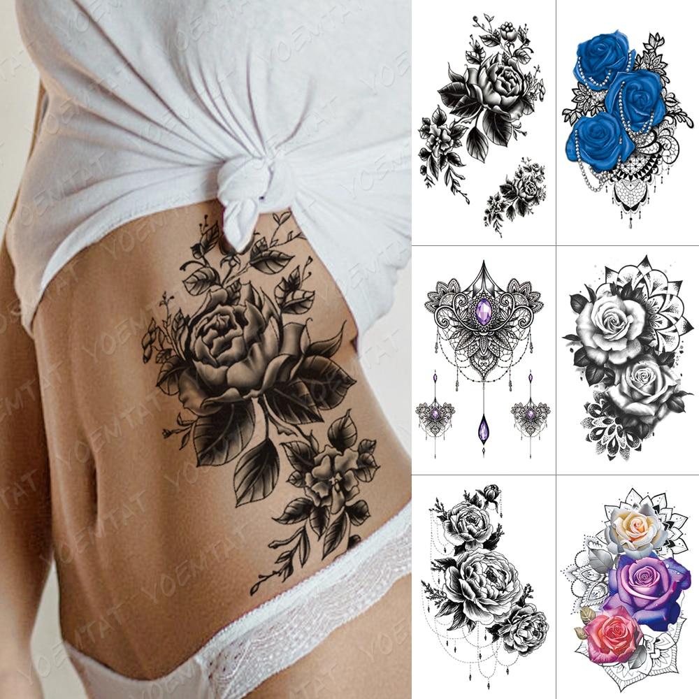 Waterproof Temporary Tattoo Sticker Flower Peony Rose Sketches Flash Tattoos Black Henna Body Art Arm Fake Tatoo Women Men