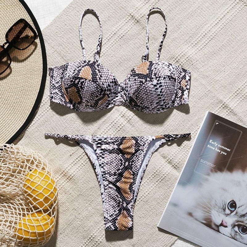 Snake print bikini Push up swimsuit female bathing suit String thong Brazilian bikini 2019 High cut swimwear women Sexy biquini